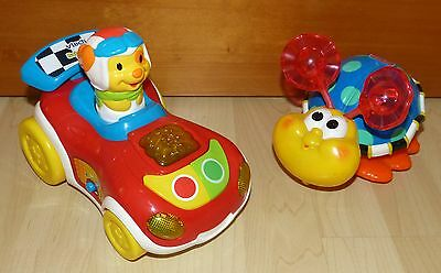 LOT 2 véhicules à pression musicaux BABY RALLYE VTECH + COCCINELLE FISHER PRICE