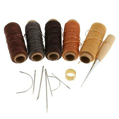 14pcs Curved Hand Sewing Needles+Leather Waxed Thread+Stitching Awl+Thimble