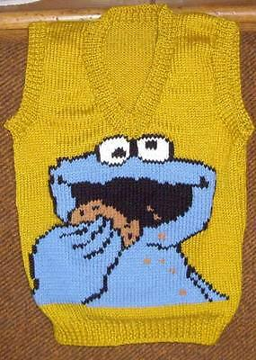 Cookie Monster Vest New Hand Knitted Size 2