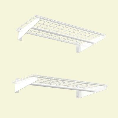 HyLoft 2-Shelf 36 in. W Wire Garage Wall Storage System in White