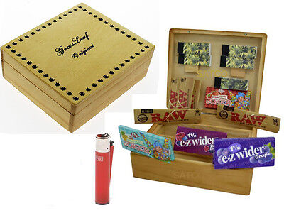 Grassleaf Large Wooden Rolling Box Gift Set, Raw classic,Roaches,Tips,Clipper