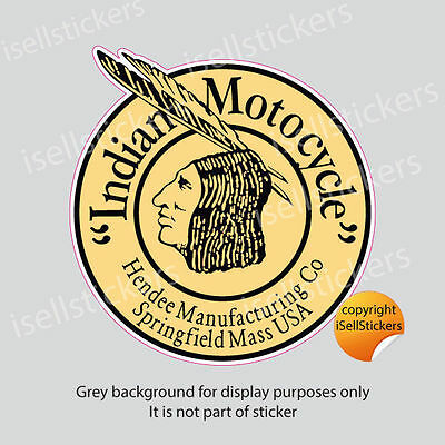 BM-12030 Indian Motocycle Hendee Motorcycle Tan  Bumper Sticker Window Decal