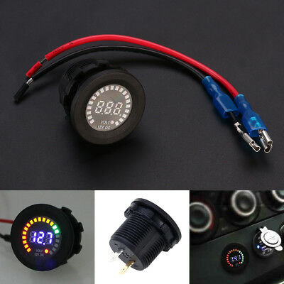 Waterproof 12V Car Van Boat Marine LED Voltmeter Voltage Meter Battery Gauge