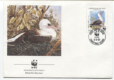 CHRISTMAS ISLAND  1990: official WWF FDC for 29c Abbott's Booby issue (3405)