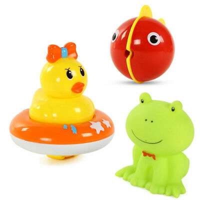 3Pcs Baby Kids Bathtime Bathing Toys Bath Floats Squeaky Animals Toys Gifts