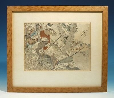 Antique Handcoloured Wood Cut Print - Indian / Eastern / Asian Battle Scene.
