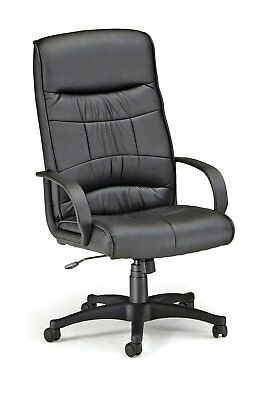 OFM Office Synthetic Leather Adjustable Executive High Back Black Chair W/ Arms