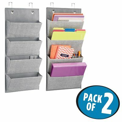 Wall Mount/Over Door Fabric Office Storage Organizer Notebooks, Planners & More