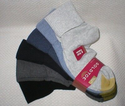 Women's GOLDTOE Turn Cuff Ankle Socks 6 Pair Size 6-11 New in Package