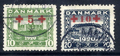 DENMARK 1921 Red Cross surcharge set, used