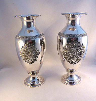 Pair of Large Decorated Persian Sterling Vases-10 3/8""