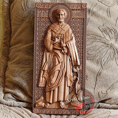 "Saint Timothy the Apostle 3D Art Orthodox Wood Carved icon (10""x5"")"
