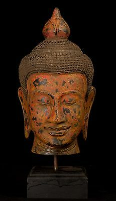 """Antique Khmer Style Southeast Asia Red Wood Buddha Head Statue - 32cm/13"""""""