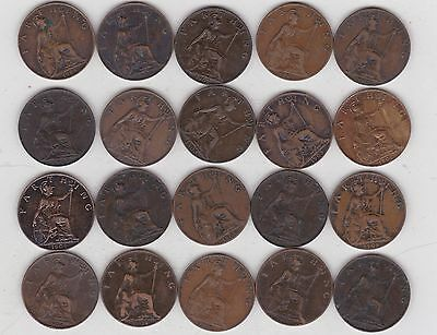 20 Edward Vii Farthings 1902 To 1909 In Good Fine Or Better Condition