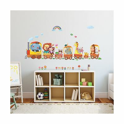 Decowall DA-1406A Animal Trains Peel and Stick Nursery Kids Wall Decals Stick...