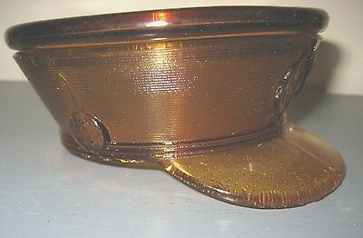 Vintage Amber Glass Military Hat Eagle Candy Container~~