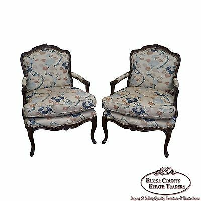 Quality Pair of French Louis XV Style Carved Frame Fauteuil Arm Chairs