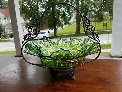 Green Antique Victorian Brides Basket
