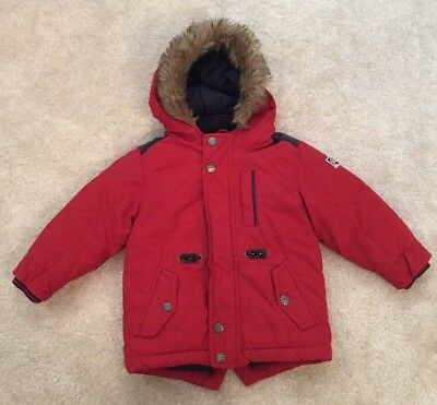 NEXT Baby Boy Red Winter Jacket With Faux Fur Detail Size 1.5-2 Years/18-24 Mon
