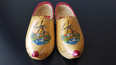 NICE Authentic Pair DUTCH Wooden Shoes from Holland Wood Hand Carved & Painted