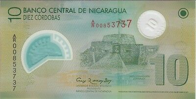 NICARAGUA P# 201 r  10 CORDOBAS 2007/2012  REPLACEMENT PREFIX A/R  UNCIRCULATED
