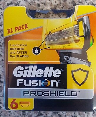 Gillette Fusion Proshield 6 Pack of Blades (GENUINE) UK Sell Only