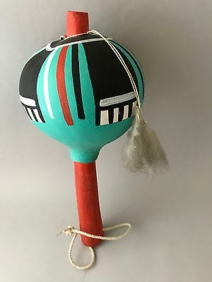 RARE Vintage Hopi Kachina Gourd Rattle w Feather Ceremonial Art Painted