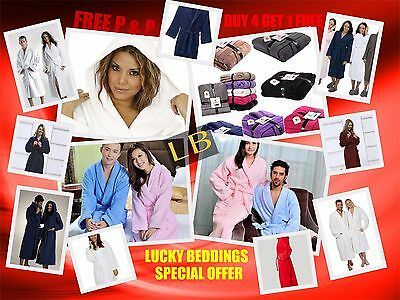 Egyptian Cotton Soft Towelling Terry Towel Bath Robe Dressing Gown Uni Sex