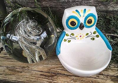 Owl Boston Warehouse Hand Pained Scrubber SPONGE DISH HOLDER Hand painted Cute