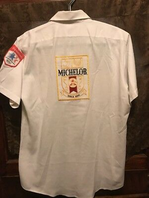 MICHELOB BUDWEISER BREWING ~ VINTAGE 84 Olympics ~ LG ~ Beer Delivery Work Shirt