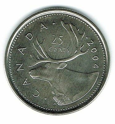 2004-P Canadian Brilliant Uncirculated Business Strike Twenty Five Cent coin!