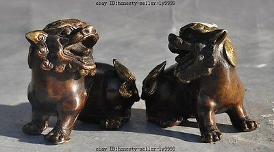 "3""china bronze gilt lucky evil brave troops pixiu foo dog lion beast statue pair"