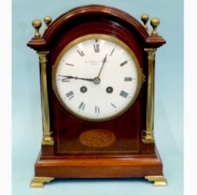 Marti French Mahogany Architectural Enamelled Face Striking Mantle Clock GWO