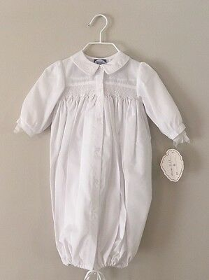 Carriage Boutique Baptism Christening Gown Bonnet Smocked White Newborn NWT