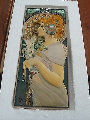 Art Nouveau Alphonse Mucha Wall Plaque FEATHERS  by Past Times Woman Lady