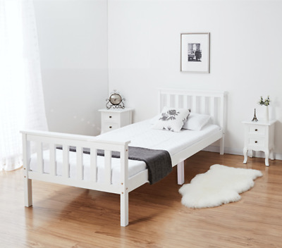 Double Bed in White 4'6  Wooden Frame Classic Bed White Frame UK STOCK
