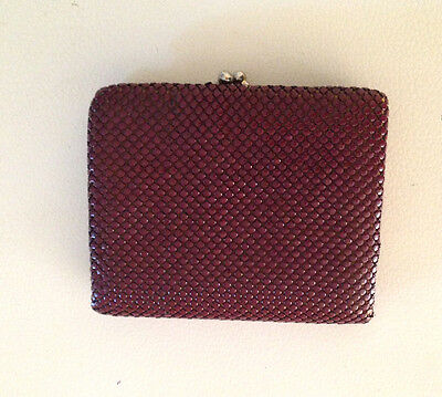 Vintage Burgundy Gold Glomesh Tri Fold Wallet & Coin Purse Credit Card Slots