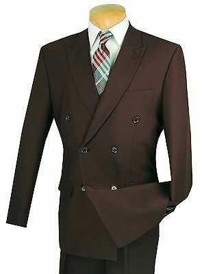 Men's Brown Double Breasted 6x2 Button Classic Fit Polyester Suit NEW
