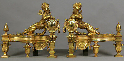 A Pair of Late 19th/ Early 20th Century Gilt Bronze Chenets