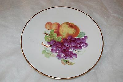 "Vintage German 7 1/2"" Fruit Plate With Gold Rim"