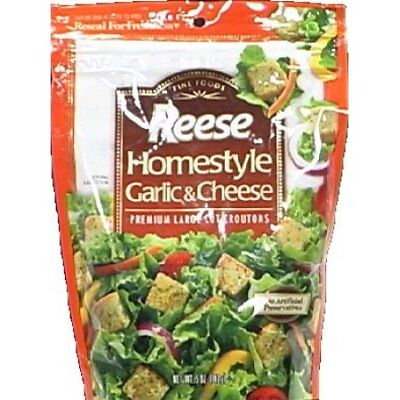 Reese Homestyle Garlic and Cheese Croutons, 5-Ounce Bags (Pack of 12)