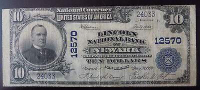 1902 $10 Lincoln National Bank of Newark, New Jersey Fine Fr. 635 Charter 12570