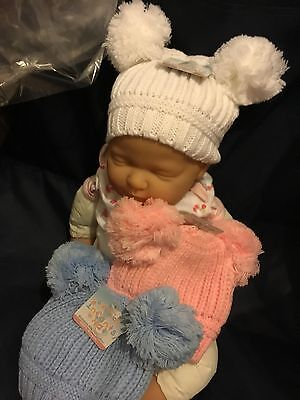 Babies Bobble Hat Pink White Blue Red Navy Boy Girls Winter Hat 0-12 Mths Double