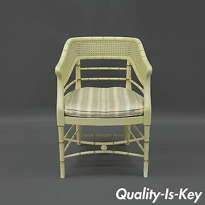 Faux Bamboo Cane Arm Chair Wood Hollywood Regency Chinese Chippendale Vtg Rattan