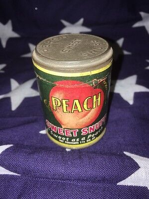 Vintage American Snuff Co Peach Sweet Snuff Container 1 1/4 Oz