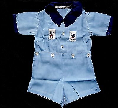 Vintage 40s 50s Blue Shirt Shorts Detachable Boy Outfit Mickey Mouse Pockets