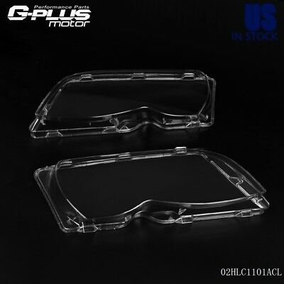 For BMW E46 3-series 4 Door 02-05 L&R Headlight Headlamp Lense Clear Lens Cover