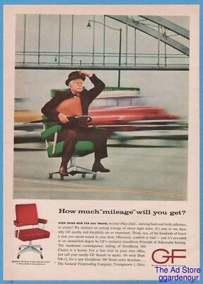 1961 GF General Fireproofing Man Riding Office Chair Highway Modern Furniture Ad