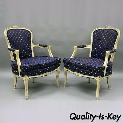 Pair Carved Wood White Painted French Country Louis XV Style Arm Chairs Vintage