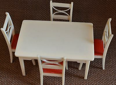 Renwal dollhouse furniture kitchen table chairs vintage plastic 1:16